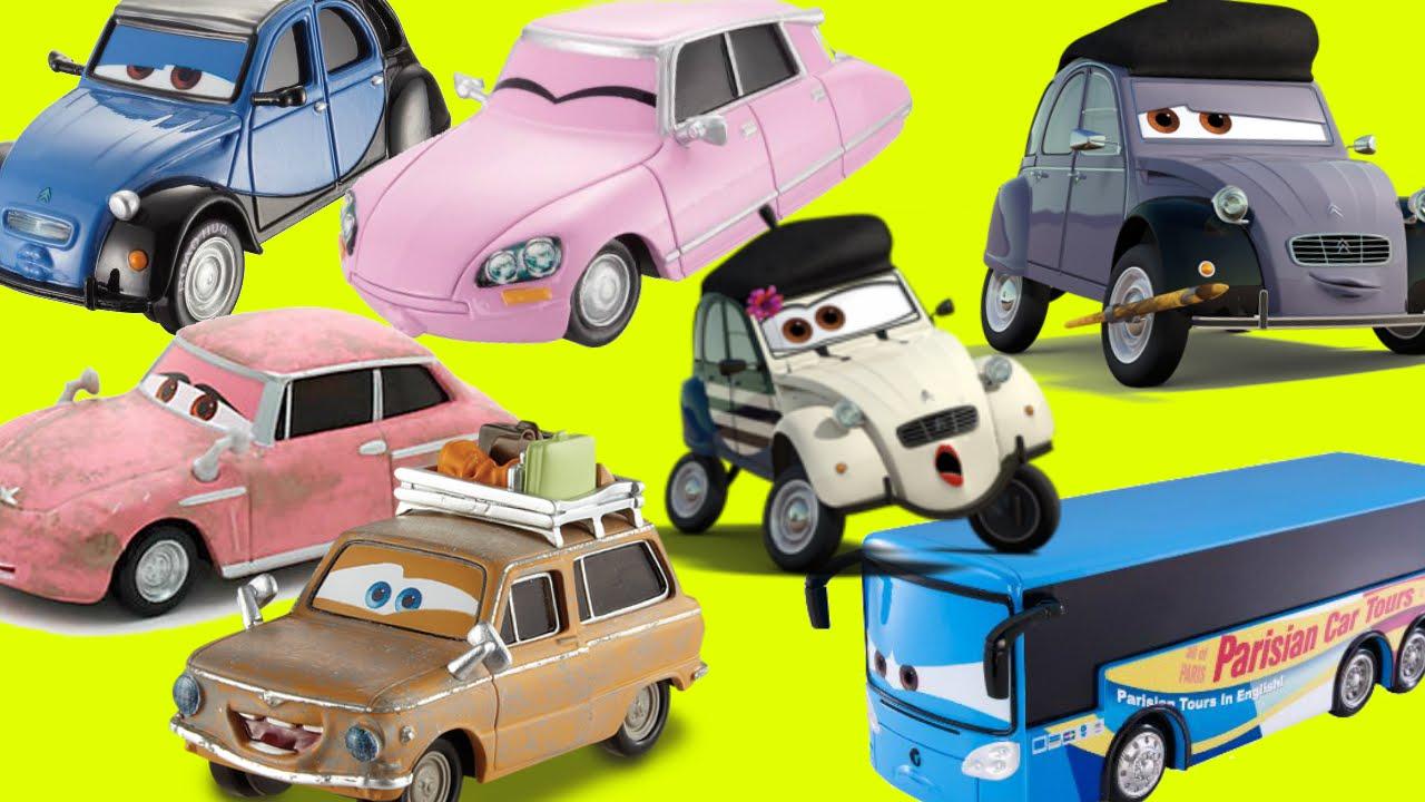 Disney Pixar Cars 2 Paris Tour Series Mater Finn Mcmissile John