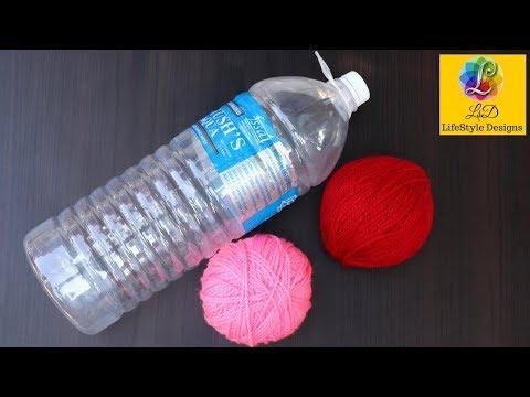 Best out of waste water bottle craft - Plastic Bottle basket - Easy WOOLEN best Craft idea