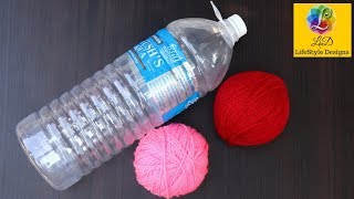 Best out of waste water bottle craft - Plastic Bottle basket - Easy WOOLEN best Craft idea