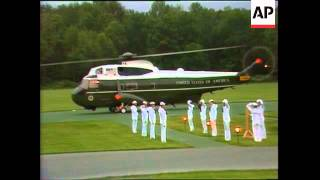 President George H.W. Bush and Soviet Union leader Mikhail Gorbachev depart from Camp David
