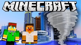 Minecraft City Destruction - TORNADO HITS THE CITY !