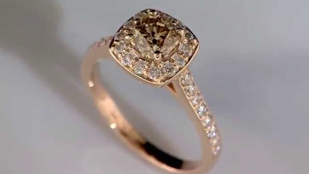 """Cara"" Champagne with Diamond Halo Engagement Ring in 14k ..."