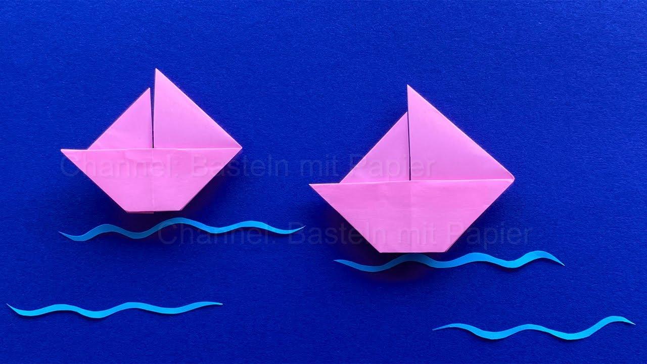 Origami Schiff basteln mit Papier - Origami Segelschiff falten ⛵