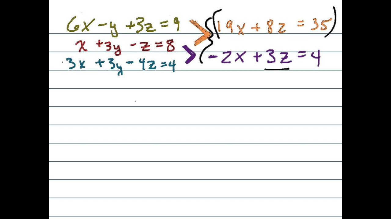 �z�9k���-9��9��y��_Solvethesystemusingsubstitution:6x-y+3z=9;x+3y-z=8;3x+3y-4z=4-YouTube