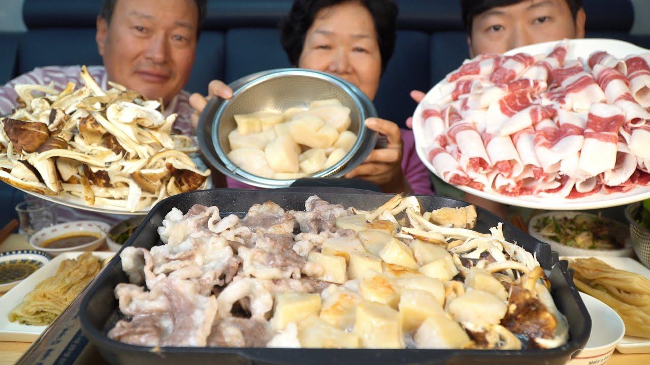 송이버섯과 키조개관자, 차돌박이의 환상적인 조합! 소주 한 잔 까지~ (Samhap) 요리&먹방!! - Mukbang eating show