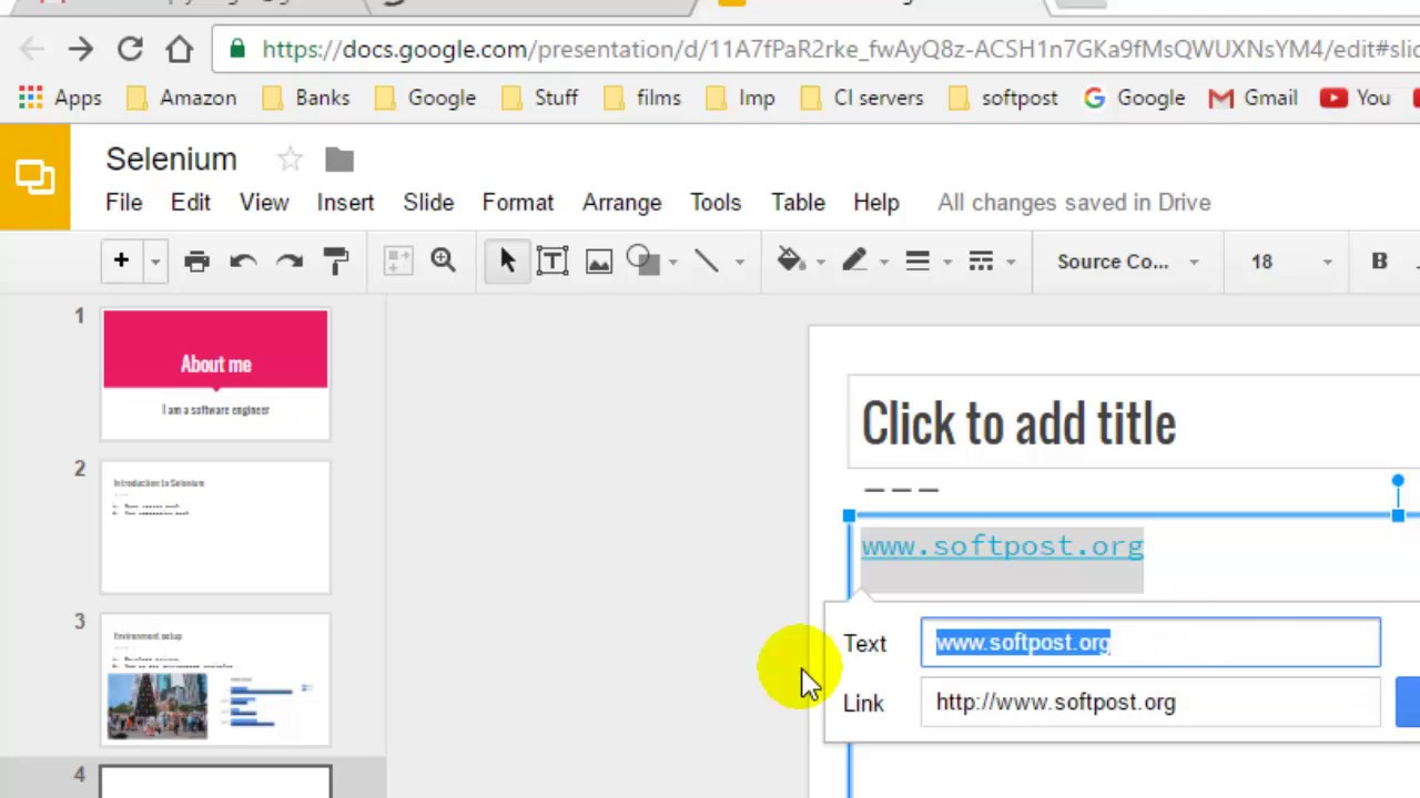 how to insert a link in google slides youtube
