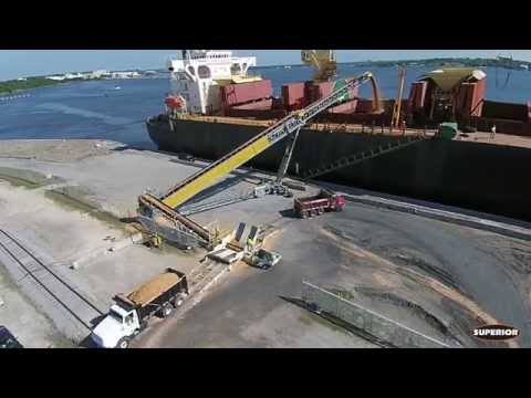 TeleStacker® Conveyor and RazerTail® Truck Unloader Loading Ships in FL