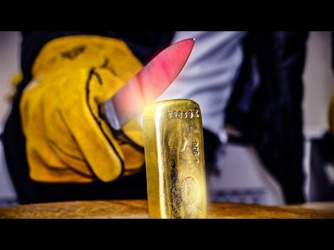 EXPERIMENT Glowing 1000 degree KNIFE VS $25,000 GOLD BAR