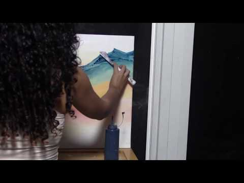 Time lapse Acrylic Painting Demo – Mountain Landscape – Easy Abstract