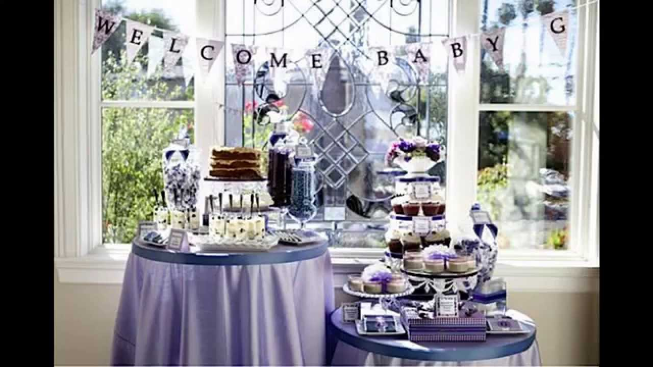 Purple baby shower themes decorations ideas youtube for Baby shower decoration set
