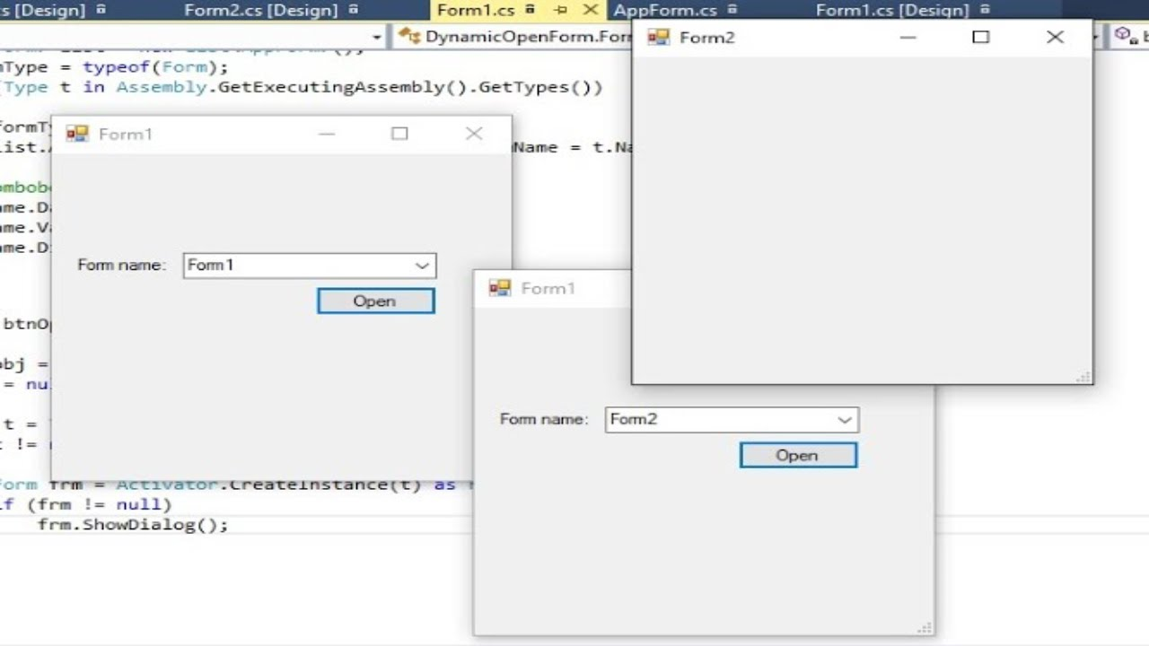 C# Tutorial - Get all Forms and Open Form with Form Name ...
