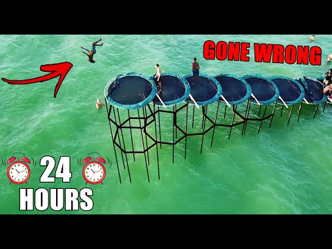 24 HOURS ON STILTED TRAMPOLINE STAIRCASE G0NE WR0NG!! (Ft. Karen & Penguinz0)