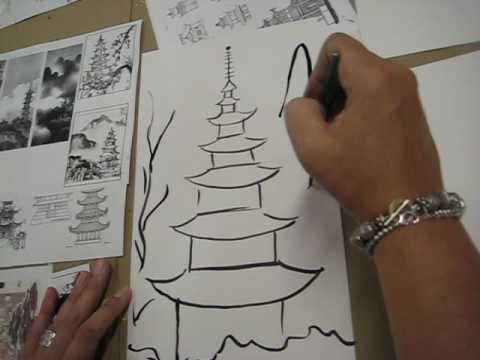 Chinese Brush Painting - Pagoda