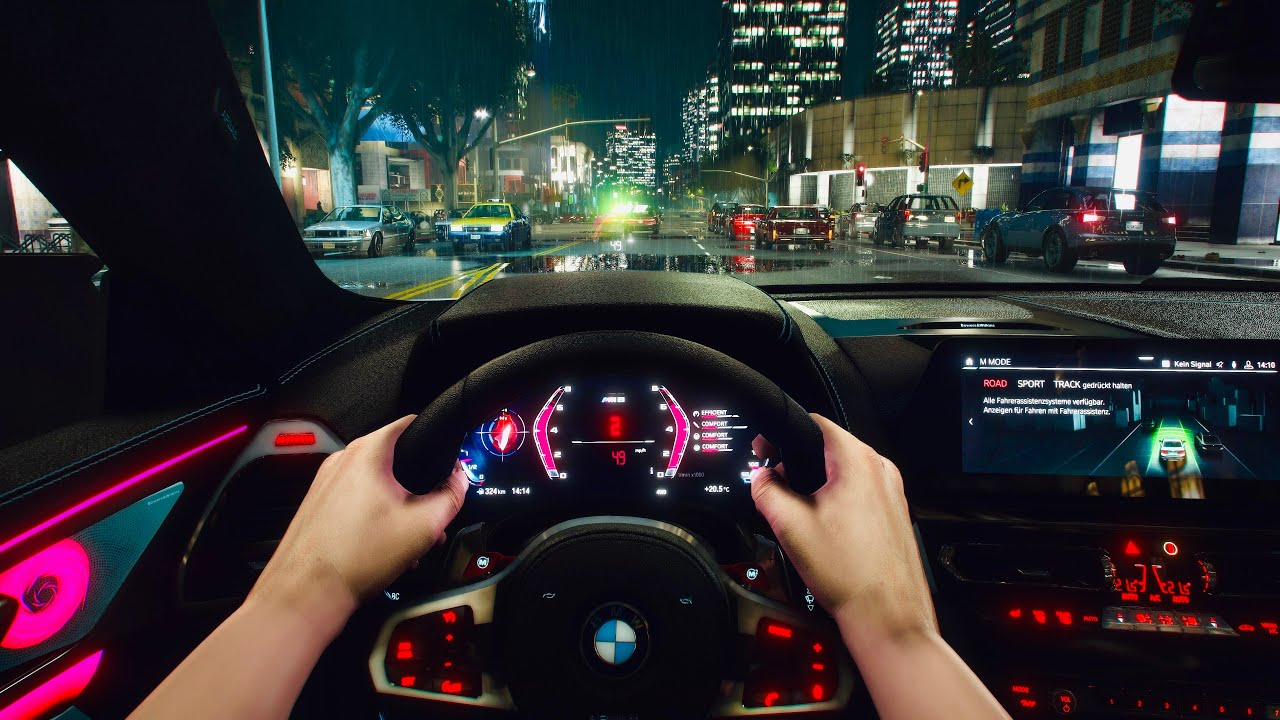 GTA 5 8K REAL-LIFE Graphics - BMW M8 Competition POV Drive Night Rainy Weather