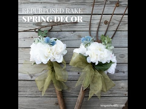 Repurposed Rake Spring Decor
