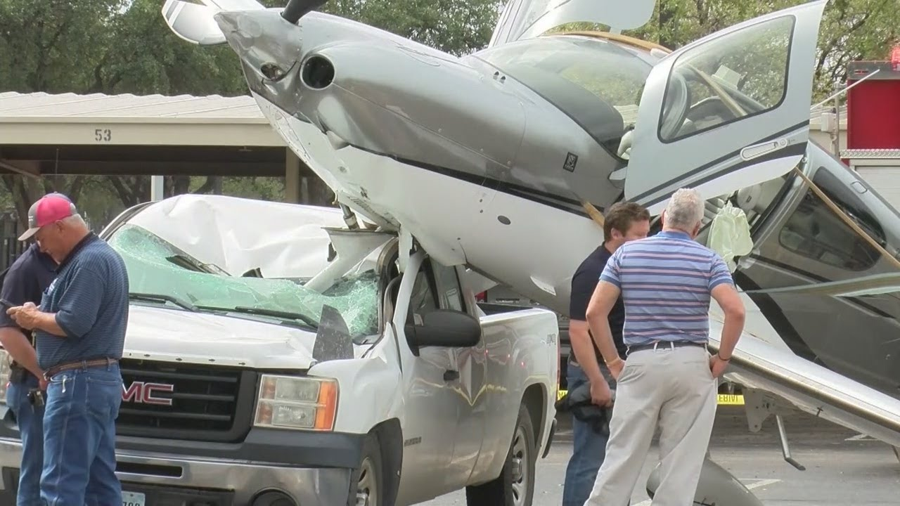 Plane crashes on top of truck in Midland