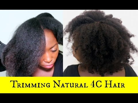 Trimming Natural Hair at Home Without Heat after African Threading 4C Natural Hair