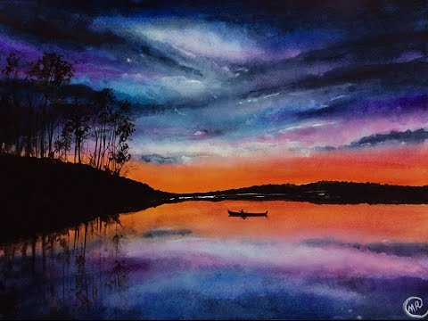 Watercolor Lake Sunset Scene Painting Demonstration