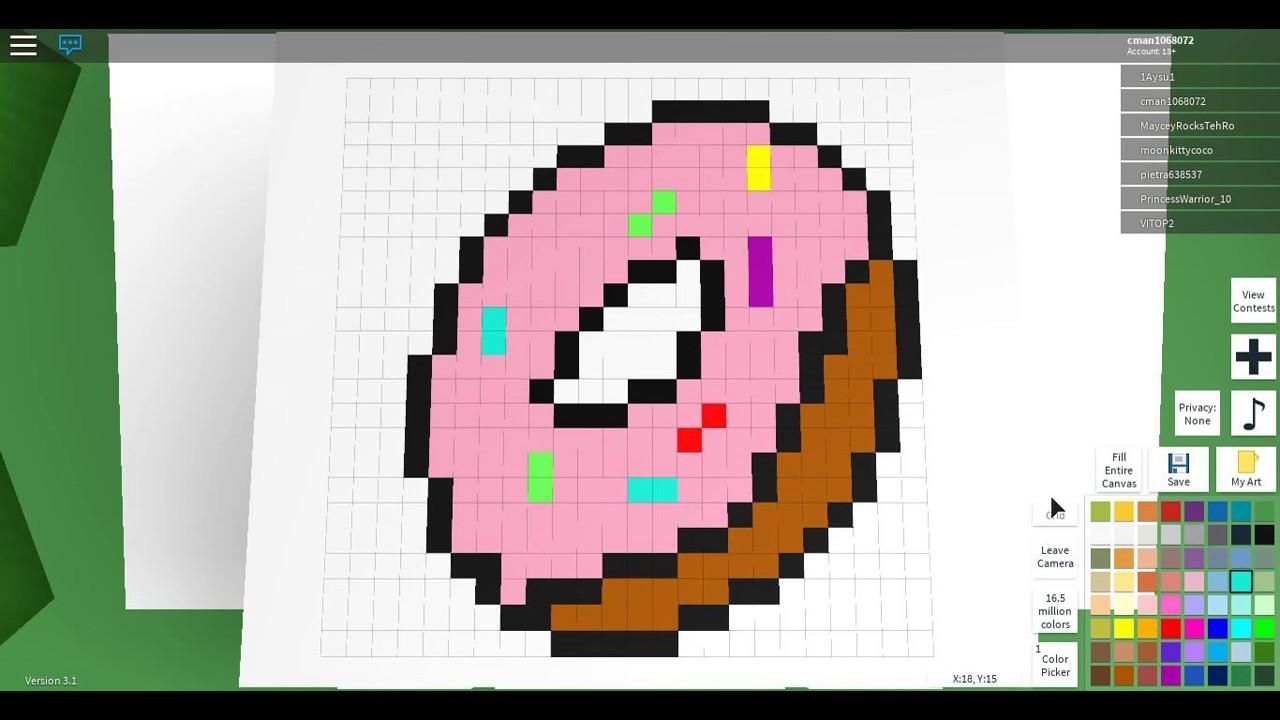 Roblox Pixel Art Yum It Is A Donut