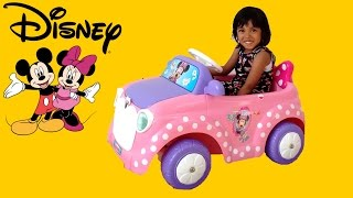 pink minnie mickey mouse ride on power wheels surprise unboxing playing   disney car playtime
