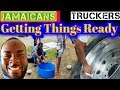 Jamaican Truckers Link Up in Canada Making jerk pan & Cleaning Truck Rim, Pt 2 vlog #34