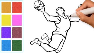 Glitter Coloring Pages for Toddlers and Kids Have Fun Learning To Draw A Basketball Slam Dunk