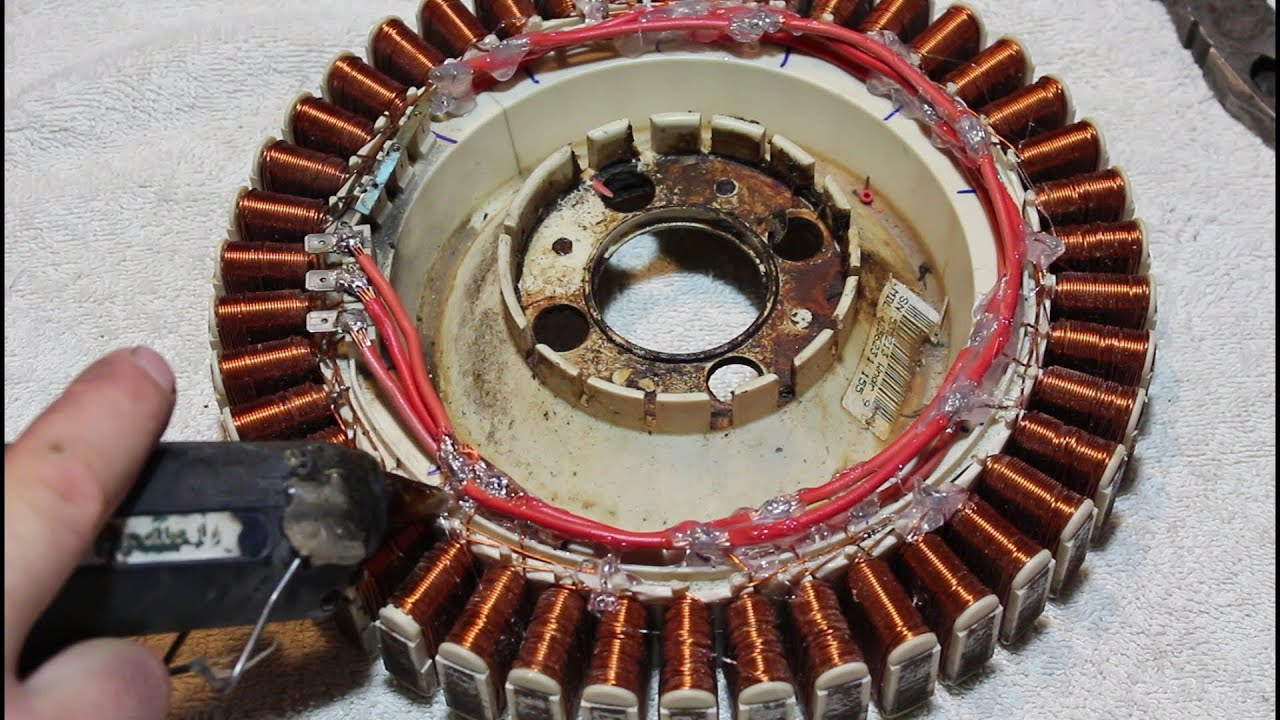 How to rewire an old washing machine motor to generate free power  YouTube