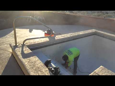 Starting to remove the plaster from the pool Green Valley, AZ 01272016