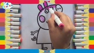 How to Draw Peppa Pig Family Computer Coloring Pages | Kid Drawing Learn Colors for Childrens
