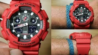 Casio G-shock GA-100B-4A *RED EDITION, UNBOXING, LIGHT DEMO