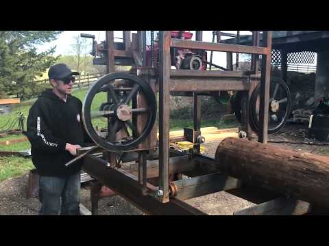 Homemade sawmill makes its first cuts