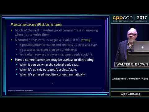 "CppCon 2017: Walter E. Brown ""Whitespace ≤ Comments << Code"""