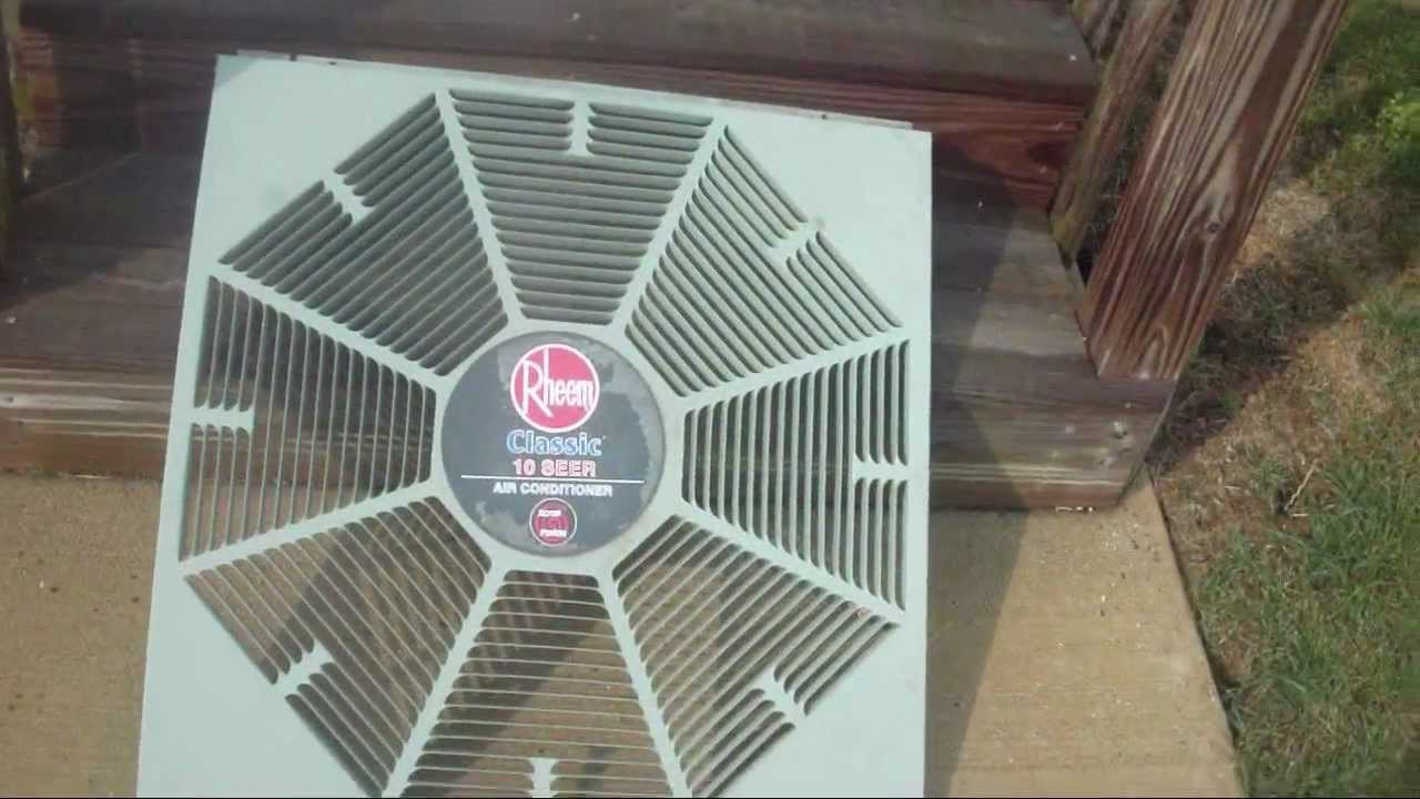 Cleaning My Rheem Central Air Conditioner Fan Grille Youtube