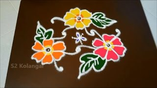 Video Simple flower kolam with 7 to 4 Interlaced dots - chukkala muggulu designs - easy rangoli designs download MP3, 3GP, MP4, WEBM, AVI, FLV April 2018