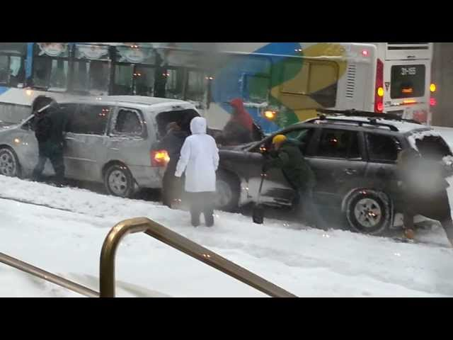 Hyundai helps a broken down Mazda stuck in snow Travel Video