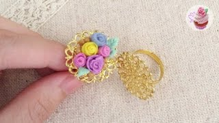 Polymer clay tutorial: Dainty floral ring ✿ ft. lollylaurenlolly