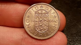 ... united kingdom 1966 one shilling coin value + mintage figure. how much is