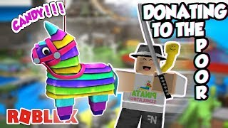 FREE ICE SWORDS AND DRAGONS??? | Donating In Pinata Simulator ROBLOX