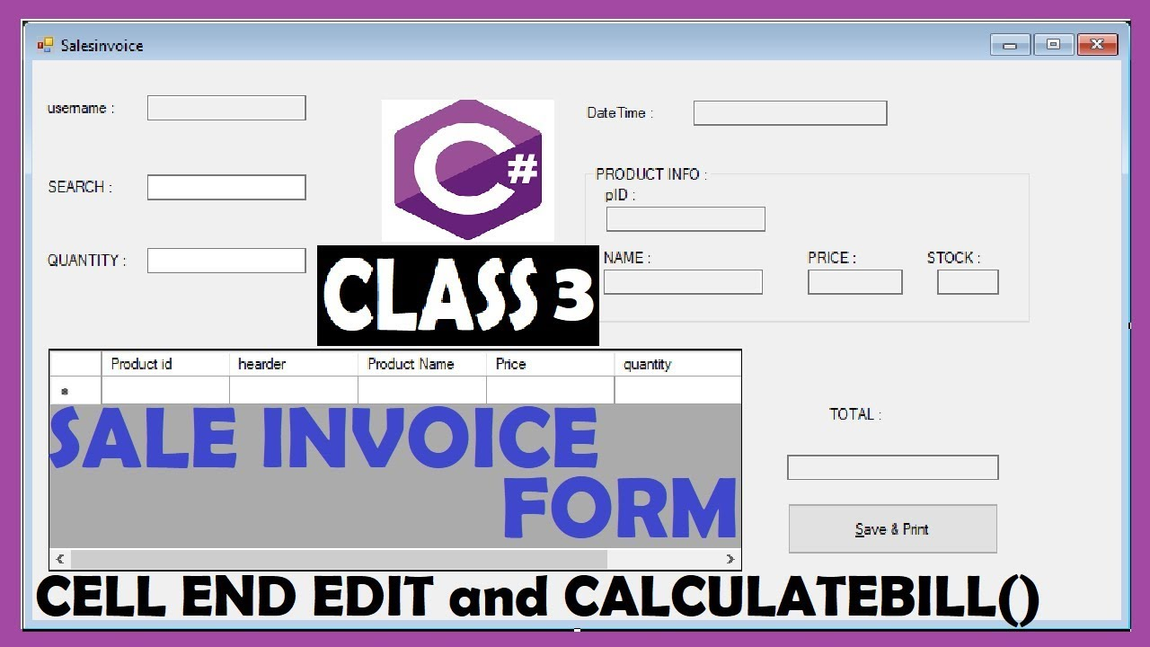 How To Create Sale Invoice Form In C Youtube
