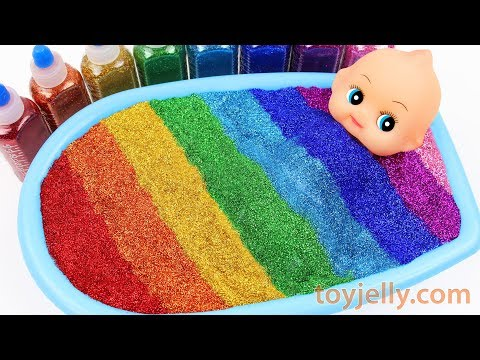 Mixing All My Slime Smoothie Learn Colors Jelly Slime Rainbow Glitter Twinkle Parts for Boy & Girl