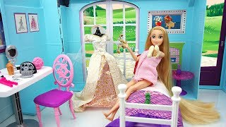 Princess Rapunzel Wedding Morning Routine, Poupée Raiponce Mariage, Barbie Teresa Morning Routine