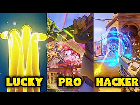 LUCKY vs PRO vs HACKER - Overwatch Pro + Funny Moments #4