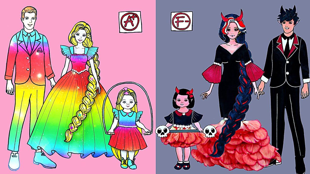 Paper Dolls Dress Up ~ Contest Family Rapunzel & Vampire Handmade Quiet Book ~ Dolls Beauty