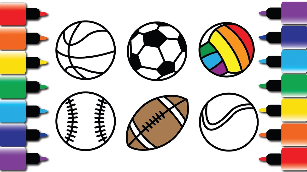 How to draw sports balls - Drawing and Colouring book for ...