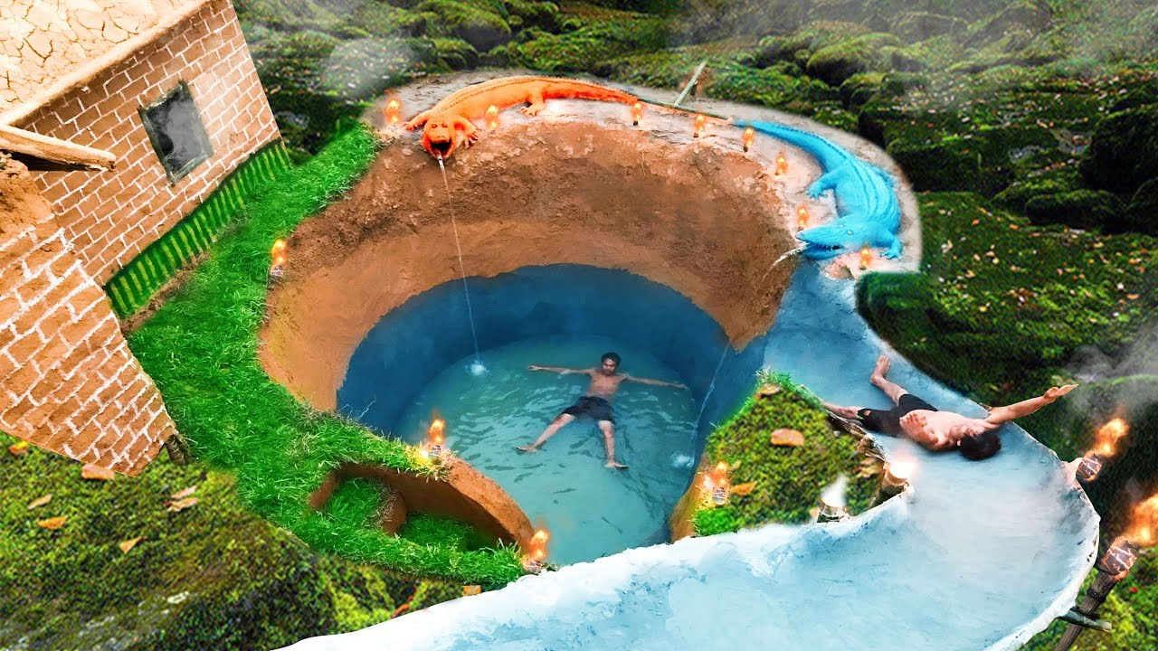 Build Swimming Pool Water Slide Crocodile Around Secret Underground House Youtube