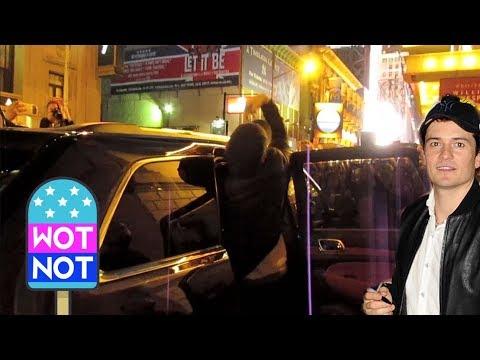 Orlando Bloom's Awkward Car Entry in NYC Broadway
