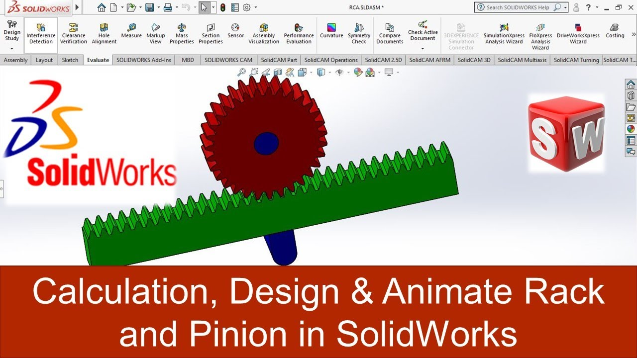 calculation design animate rack and pinion in solidworks
