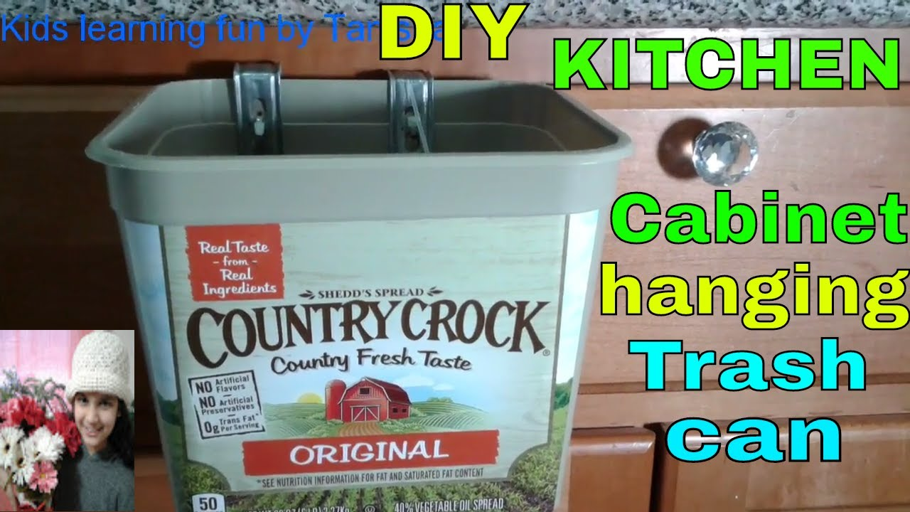 DIY Kitchen Cabinets hanging trash can/bin out of Country Crock ...