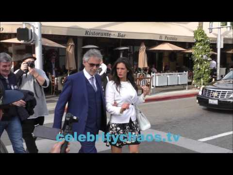 famed opera singer Andrea Bocelli leaving lunch in los angeles