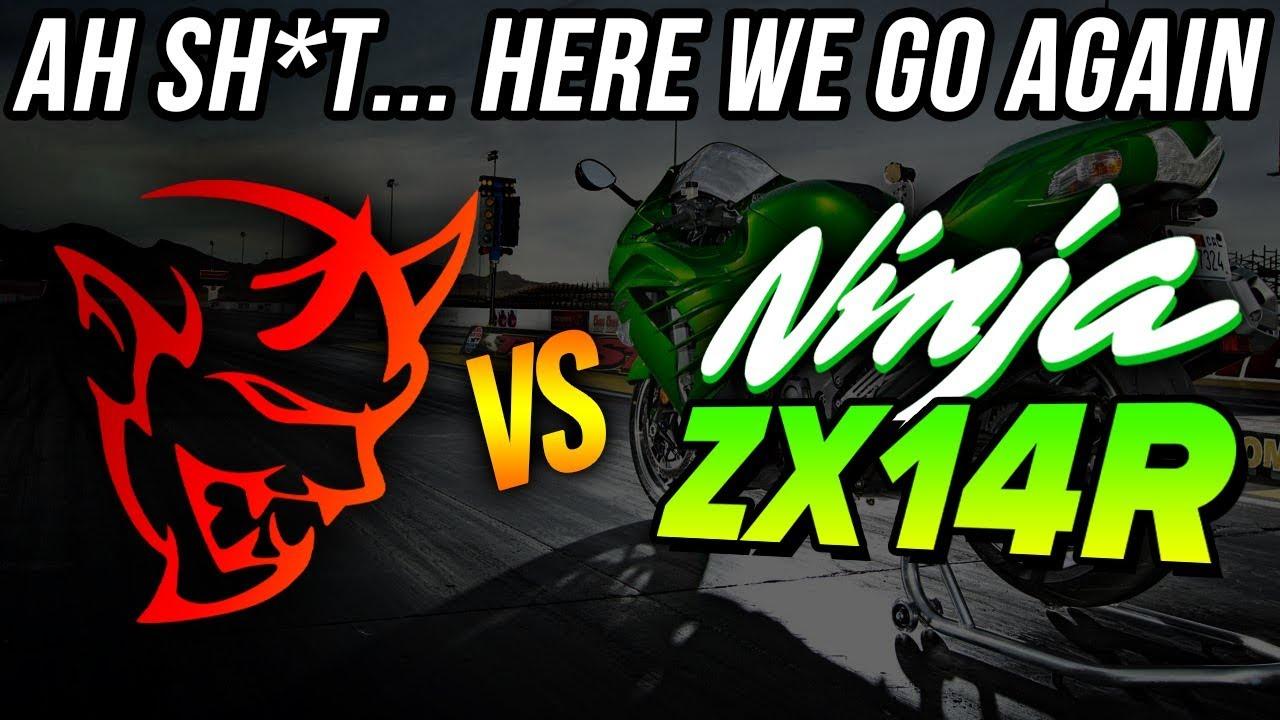 1b74255db1a7 AH SH*T here we go again... Dodge Demon vs Kawasaki NINJA ZX14R DRAG ...